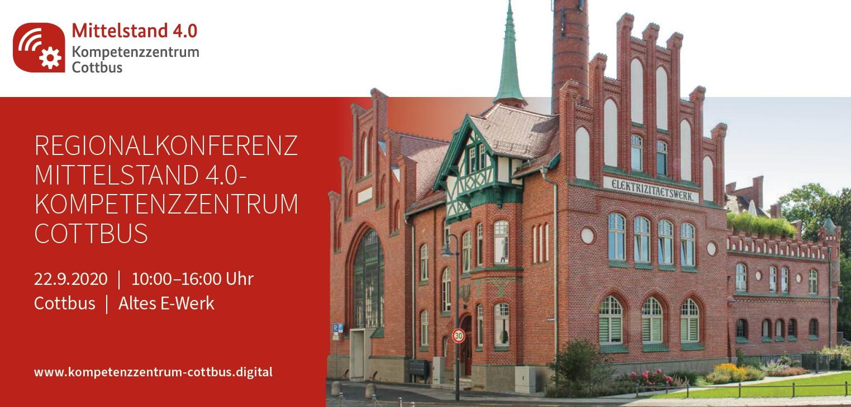 Flyer Regionalkonferenz Mittelstand 4.0 Kompetenzzentrum Cottbus mit E-Werk